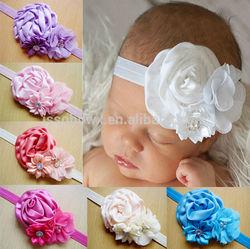 Rose flower infant baby headband, lastest design baby stretch headband