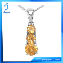 Charming 3-Stone Citrine Rounds Silver Pendant Necklace