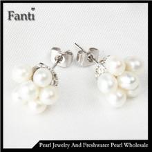 Pearl earring stud 3-4mm AAA rice real freshwater pearl earrings