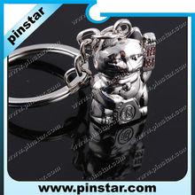 Fashion Accessory Charmming Pendant Metal Maneki Neko Key Chain Ring Alloy Zinc Lucky Cat Keychain with Silver Finish