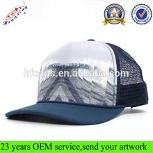 Fashion front custom pattern printed flat brim 5 panel custom mesh trucker snapback hat