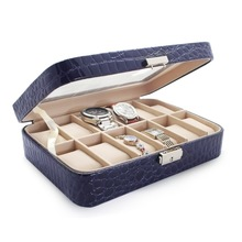 Round corner high grade dark blue PU leather 12 slots MDF watch display box/case