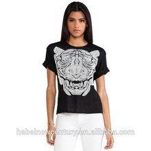 Bengal Tiger Bengal Tiger Printing Round Collar Short Sleeve Women T-Shirt New Fashion Dress