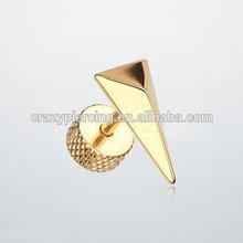 Golden Triangle Force Steel Fake Plug Earring Body Piercing Jewelry