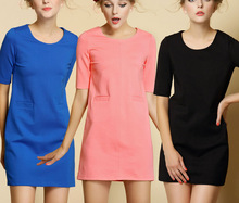 New winter ladies elastic Roman cloth pure color easy multicolor dress