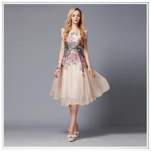 Customized 2014 New Design Digital Printing Commuter Outfit Silk Chiffon Skirt