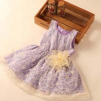 Tas1032The newest design 2014 Korean edition girls lace dress kids net yarn vest frock design sweet and princess dress