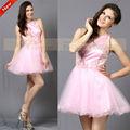 cy50664 sweet mangas barato lantejoula ruffle curta rosa vestido de tule baile