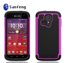 100% Perfect Fit 3 in 1 Hybrid Cell Phone Cover Case for Kyocera Hydro Icon Customized Logo Accepted