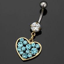 2014 moda 316l chirurgico in acciaio inox blu cuore ombelico piercing