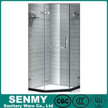 Guangdong Manufacture glass shelf frameless diamond or hexagon shape 3 sides panel or glass cheap shower cabin