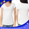 100 cotton white v neck skin tight women's short sleeve t shirt