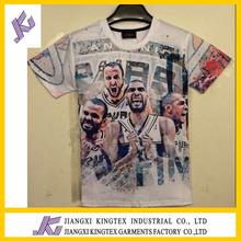 custom t shirt printing super basketball team star for American