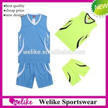 Cool style basketball jersey sets design for man bule/green basketball team wear cheap wholesale basketball sportswear