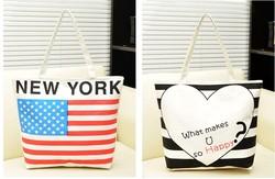 High Quality Custom Silk Printing City Name Cotton Canvas Bag with New York Logo
