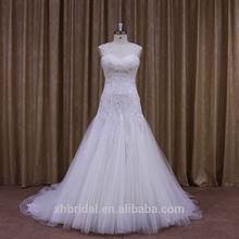 Cap sleeve ruffle brooch beaded lace wedding dress with keyhole back 2014 in dubai