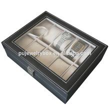Square corner Exquisite Black PU leather 10 grids MDF watch display box/case