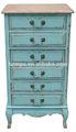 azul pintado a mano shabby chic de alta mueble aparador con 6 cajones