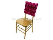 luxury satin rosette chair cover for wedding chair decoration, banquet chair decoration