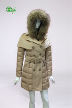 2014 Women's double-breasted with belt new down jacket with hood/lady winter jacket