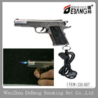 Cool Gun Pistol Style Zinc Alloy Windproof Butane Jet Torch Lighter w/ Red Laser