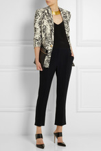 lightweight wool blended women full printed winter Snap button fastening front jacket