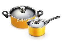 Non-Stick cook enamel fry pan casserole pot Set,white color with print enamel Casserole induction saucepan soup pot set with lid