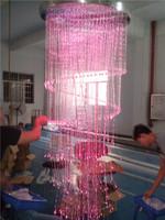 Italian Purple Lampshades Lighting Crystal Metal Chandeliers hanging lamp