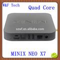 Sıcak satış dört çekirdekli 2gb+16gb wifi bluetooth xbmc yüklü minix neo x7 iptv