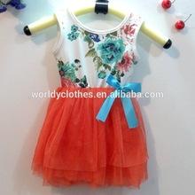 2014 summer girl dress kid clothes/baby clothes sleeveless princess girl dress