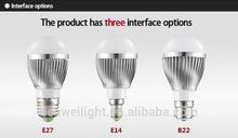 3 years warranty 5w 600lm led light bulb led rectangle light base small base and led light base rotating