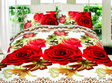 Sex Red Rose Flower Polyester Queen Size Duvet Quilt Cover Bed Sets Sheet