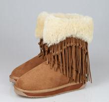 Warm Winter Ladies Fur Lined Tassel Boots Australia Sheepskin Shoes