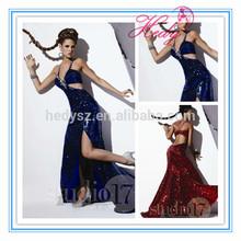 HD1518 Sequin Shiny Halter Long Leg Open Prom Dress Split Side With Beadings