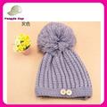 mulheres inverno gorro quente chapéu de crochê gorro com botão de decoração