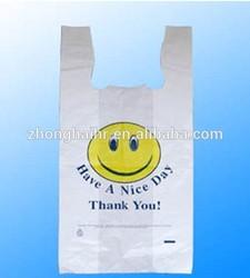 Smiling face t shirt plastic shopping bag