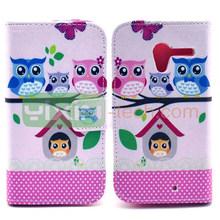 Cute Owls Pattern Wallet Flip Case for Motorola X Leather Case