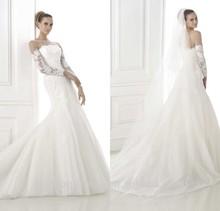 New Charming Bateau Neck Quality Lace Applique Wedding Dresses Long Sleeve