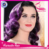 100% brazilian full lace human remy hair pretty girl purple party wig
