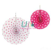 2014 popular red polka dot paper pinwheels an hanging fan wholesale decor wedding