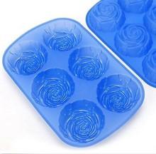 Silicon Mold Rose 6Cup Cupcake Pan Bakery Cook