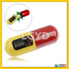 Portable Timer Pill Medicine Reminder Drug Box Keychain