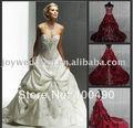 foto real display estilo europeu popular real amostra do bordado vermelho vestidos de noiva com cauda longa w2222