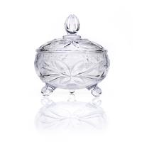 crystal decorative glass sugar bowl/fruit bowl/vegetable salad bowl with lid