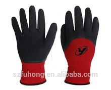 Black coating on red liner,Latex coated glove 3/4 coated