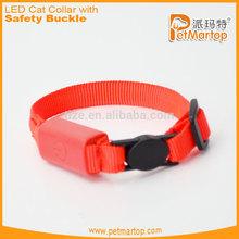 New light up led cat collar TZ-PET9001 pure color & nylon flashing led cat collar