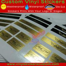 Custom Rectangle Shape with Round Corner Gold Sticker