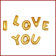 Gold color I LOVE YOU alphabet foil balloons