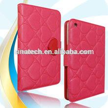 new design for apple ipad mini 1/2 red zebra pattern leather case