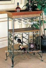 table bottle home bar furniture holder storage wood metal hanging wine glass rack